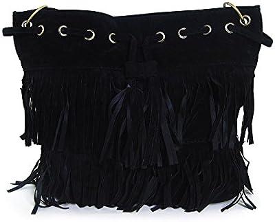 THG moda Oval Fringe bolso de hombro de los bolsos con flecos bolsa de la bola del partido Mostrar (negro)