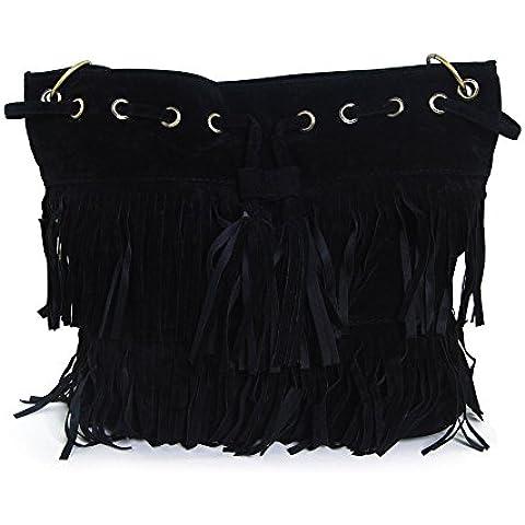 THG moda Oval Fringe bolso de hombro de los bolsos con flecos bolsa de la bola del partido Mostrar