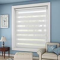 OUBO Doppelrollo Klemmfix ohne Bohren 75x 150 cm (BxH) Weiß Fenster Duo Rollo - lichtdurchlässig und verdunkelnd Wandmontage Deckenmotage Sichtschutz Rollo mit Klemmträgern für Fenster & Tür