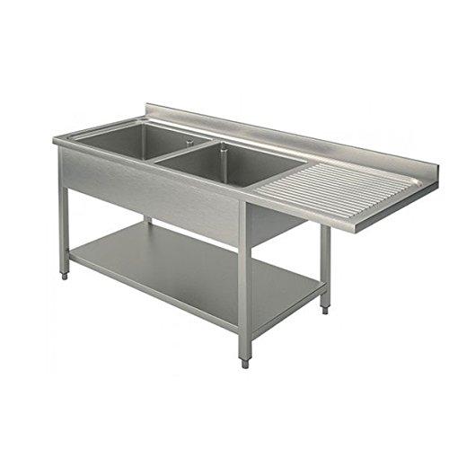 Lavoir inox 2 cuves + égouttoir DX/SX pour lave-vaisselle Dim.CM 160 x 70 x 85h