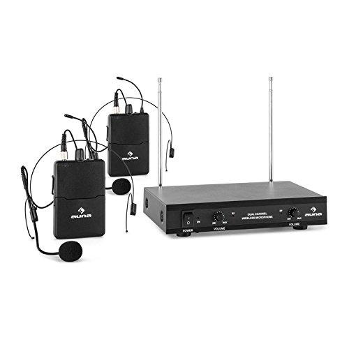 auna VHF-2-HS • 2-Kanal Funk-Mikrofon System • VHF-Funkmikrofon Set • 2 x kabelloses Headset Mikrofon • 50 m Reichweite • Lautstärkeregler • LED • Klinken-Ausgänge • Teleskopantennen • schwarz