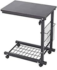 Height Adjustable Sofa Side Table with Wheels, Movable Over-Bed End Table Computer Desk Laptop Stand Bedside T