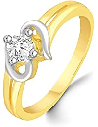 Classic Single Solitaire Bonded Heart Diamond Studded Gold Plated Alloy Cz American Diamond Finger Ring For Women...