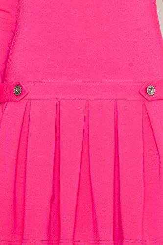 Katrus Robe tendance base volantée à plis plats serrés Fuchsia