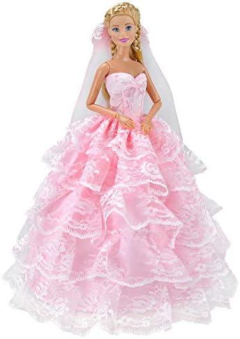 elegantstunning RoFemmetique Rose Cinq Couches Couches Couches Robe de Princesse Robes de Mariage Simuler Une Jupe Robe pour 29 cm poupée Barbie B07H3HSH8S 490b41