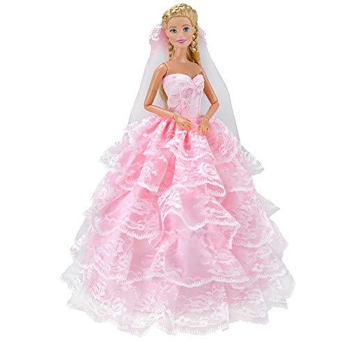 XuBa Prinzessinnenkleid Brautkleid Romantische Rosa Fünf Schichten für 29cm Barbie Puppe