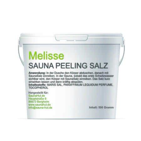 Premium Saunasalz (Salzöl) 500 Gramm Meersalz Peeling mit ÖL | Peeling Salz | Duschsalz | Sauna Salz Peeling | (Mellisse)