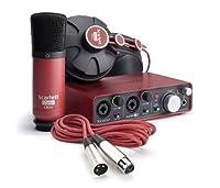 Pack d'enregistrement de qualité studio pour votre Mac ou PC avec interface audio Scarlett 2i2, un micro de studio CM25 et un casque HP60