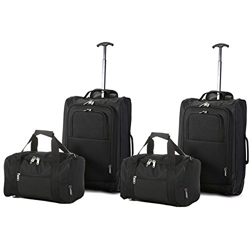 Set of 4 – 2x Ryanair Cabin Approved 55x40x20cm & 2x Second 35x20x20 Hand Luggage Set – Carry On Both items!