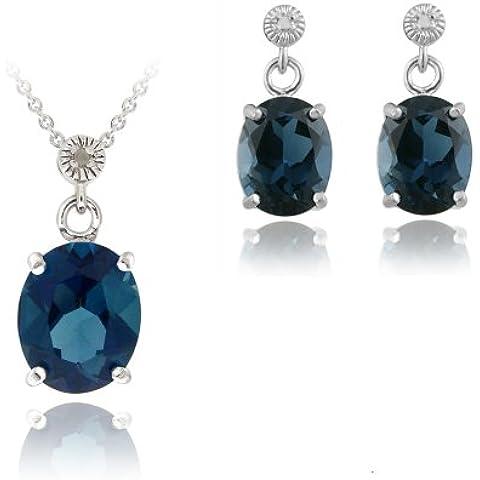 Argento Sterling con topazio blu Londra 10,8ct & diamante Accent-Orecchini con pendente ovale - Genuine Diamante Bridal Set