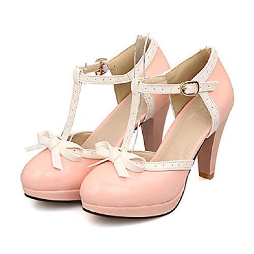 Weier. Ben Damen Cone Heel/Platform Bowknot Kunstleder Frühling/Sommer Schwarz/Rot/Pink/Kleid / EU40 Rosa_US5.5 / EU36 / UK3.5 / CN35 Cone Heel