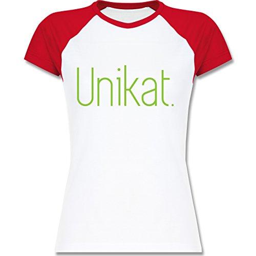 Statement Shirts - Unikat - zweifarbiges Baseballshirt / Raglan T-Shirt für Damen Weiß/Rot