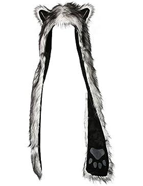 Tres Chic Mailanda - Gorro de piel sintética con bufanda y guantes incorporados para mujer, diseño con orejas...