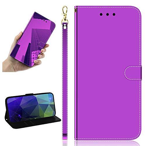 Miagon Spiegel Effekt Brieftasche Hülle für Samsung Galaxy S9 Plus,Schlank PU Leder Flip Make-Up Schutzhülle Standing Wallet Case Cover,Lila