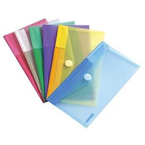 Tarifold T-collection Dokumententasche / Plastik Mappe mit Klettverschluss für DIN-lang (M65) – 6 Stk. Farbig Sortiert…