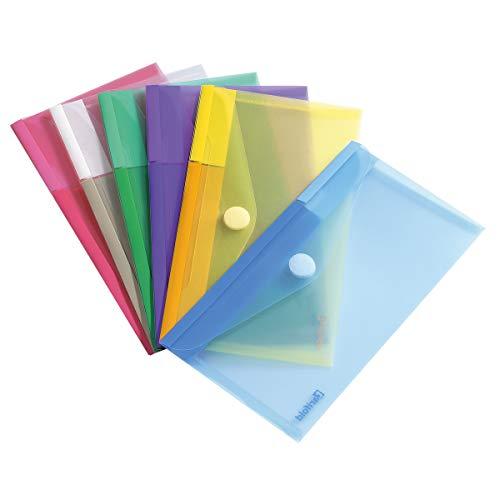 Tarifold T-collection Dokumententasche / Plastik Mappe mit Klettverschluss für DIN-lang (M65) - 6 Stk. Farbig Sortiert (Blau, Lila, Grün, Gelb, Rosa, Transparent) - 510279