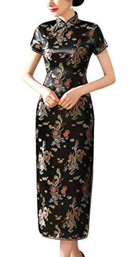 Cheongsam Kleid Muster (Laogudai Damen Kleid Chinesisch Etuikleider Traditional Cheongsam Kurzärmelig Qipao Brokat LangkleidSchwarz Abendkleider Partykleider-L)