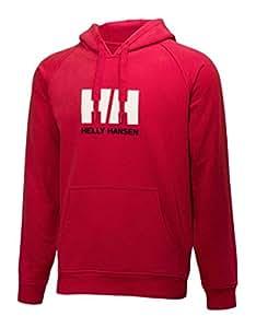 Helly Hansen Logo Summer Sweat-shirt à capuche Homme Gris rouge Rouge Small