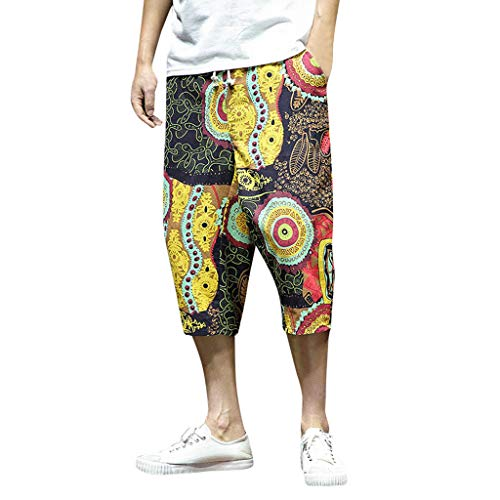 Malloom- Bekleidung Harem Baumwollleinen Hose mit weitem Schritt und weiten Beinen für Herren Baggy Cropped Trousers Large Size Cotton and Linen national Wind Harem Pants Cropped Trousers Braun M-5XL