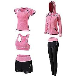 Vêtements de Yoga Costumes Gym Running à séchage Rapide Costumes Sportifs pour Dames Vêtements de Sport Vêtements de Fitness (Cinq Ensemble) (Rose, S)