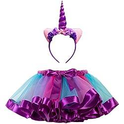FENICAL Disfraz de Unicornio para Niñas Diadema Unicornio Floral con Oreja y Falda Tutú de Arco Iris Disfraz para Fiesta Púrpura Tamaño S