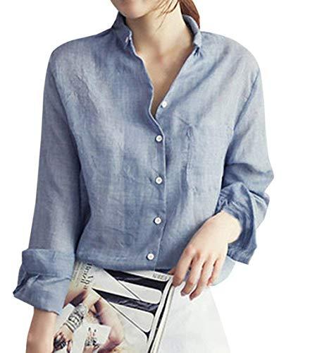 Camicie da Donna E Autunno New Leisure Sciolto Chic Top Manica Lunga Top  Camicetta Moda Tinta 1c34425acf5