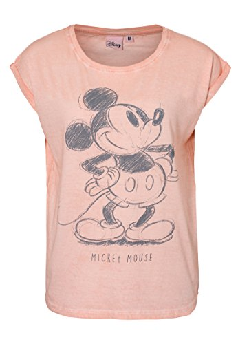 Rock Angel Damen T-Shirt mit Retro Mickey Aufdruck | Lockeres Print-Shirt mit Überschnittenen Ärmeln | Comic Shirt Rose M (Disney Hat Frauen)