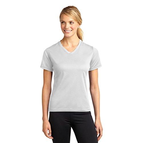 Sport-Tek l468 V Dri-Mesh Damen T-Shirt V-Neck XXL Weiß - weiß