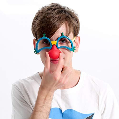 WWVAVA Party Brille Red Nose Clown Mask Kostümfest Requisiten Fun Circus Clown Brillen Zubehör Festliche Party Supplies Dekoration, Mehrfarbig