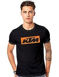 KTM Bike Logo Printed T Shirt - Men's KTM Bike Logo Round Neck T Shirt - Black