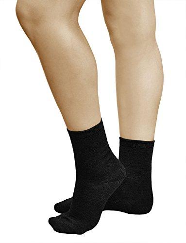 Wolle Damen-socken (3 Paar Damen Wollsocken, PREMIUM MERINO WOLLE, Klimaregulierende Wirkung, Vitsocks Classic, 39-42, schwarz)