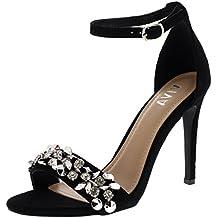 Viva Mujer Diamante Correa Delantera Correa de Tobillo Fiesta Sandalias  Tacones Altos Zapatos 6efd26c90351