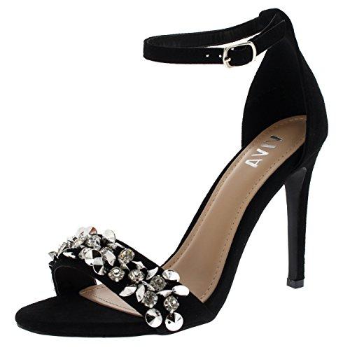 88c3ebc57a266d Viva Womens Diamante Front Strap Ankle Strap Party Sandals High Heels Shoes  - Black KL0257C 5UK