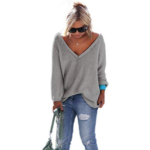 FAMILIZO Las mujeres de manga larga de punto suéter flojo Pullover Puente Tops Prendas de punto