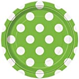 Polka Dot Green Small Paper Plates (Pack of 8)