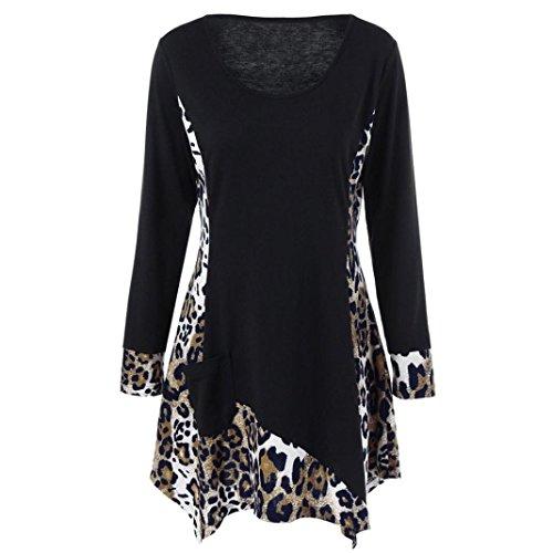 LHWY Bluse Damen Elegant, Women Leopard Patchwork Pocket Long Sleeve T-Shirt O-Neck Pullover Blouse Tops Kleider Black (XL, Schwarz) (Pocket-leinen-tunika 2)