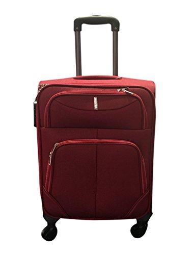 Pikla - Trolley da viaggio Piccolo in tessuto - con cerniera di estensione - 4 ruote - mis. 55x37,5x24,5 cm (Rosso)