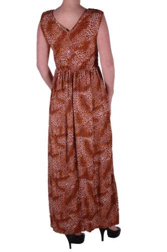 EyeCatch - Longue Robe col V motif leopard manches courtes - Femme - Taille Unique Brun