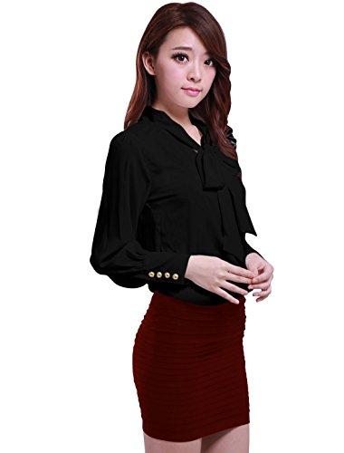 Allegra K Allegra K Damen krawatt schleife Ausschnitt puffknüpft meschette Chiffon Bluse Shirt Hemd Schwarz