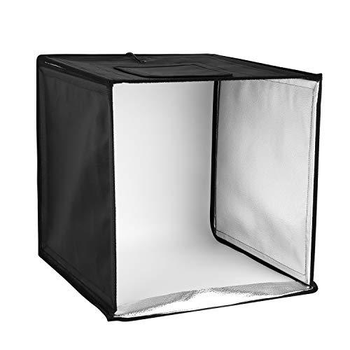 MVPOWER Mobiles Fotostudio 40x40x40cm Mini Lichtzelt mit 120pcs 50W LED Leuchte und 4 Hintergrund(Weiß, Schwarz, Orange, Grün) (Und Schwarze Orange Halloween-hintergrund)