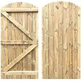 Tongue & Groove Arched Top Semi Braced Strong Garden Gate Driveway Fence Wood Timber Available in 4 Sizes (180cm Tall x…