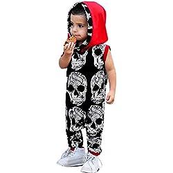 Bestow Bebé niño niña de Manga Corta con Estampado de Calavera Mono Mameluco Mameluco Mono Trajes Casuales Ropa(Negro,90)