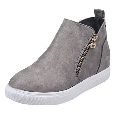 Bottes de Soutien Courtes Femme décontracté Chaussures de Mocassins Bottines Femme Cuir Plate Sports Sneakers Pas Cher