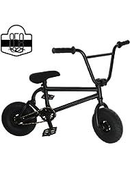 Mini BMX Freestyle bicicleta–luz con manivela de–Juego de 3neumáticos de grasa y la primavera de accesorios para Pro para principiantes–Estos Bad Boy bicicletas son ideal para STUNT truco & Racing (negro) por Ride 858