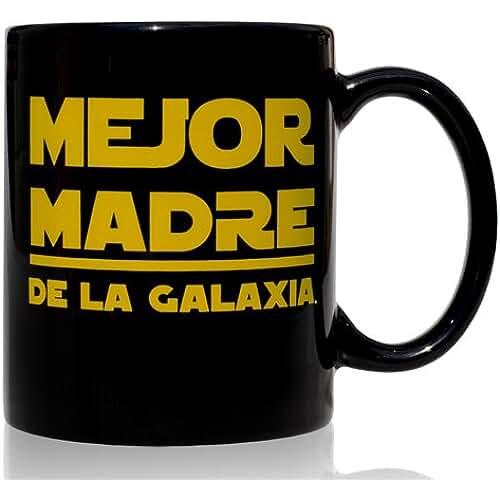 ofertas para el dia de la madre Taza mug desayuno de cerámica negra 32 cl. Modelo Mejor Madre de la Galaxia