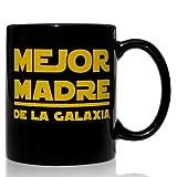 Taza mug desayuno de cerámica negra 32 cl. Modelo Mejor Madre de la Galaxia