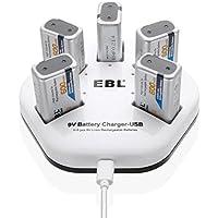 EBL Cargador de 9V Batería Recargable para Cargar 1-5 Unidades 9V Pilas Recargables de litio individualmente, Entrada USB (DC:5V/2A) con 5 Unidades 600mAh 9V Pila Recargable de Litio (Cable de Datos USB Blanco 1M Incluido)