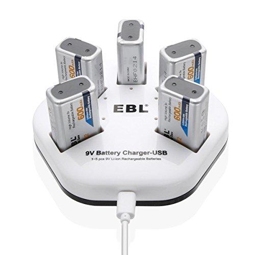 EBL Cargador de 9V Batería Recargable para