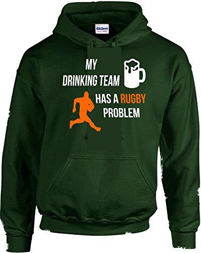My Drinking Team è un problema di Rugby stampato con cappuccio da uomo Sport Green