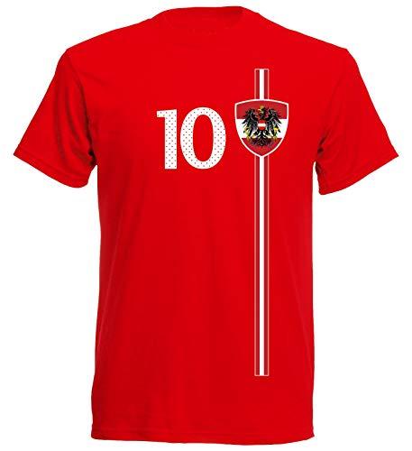 Österreich Austria Herren T-Shirt Nummer 10 Trikot Fußball Mini EM 2016 T-Shirt - S M L XL XXL - rot NC ST-1 (XXL)